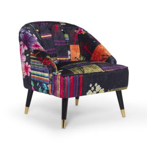 Fabric Black Patchwork Kensington Slipper Accent Chair