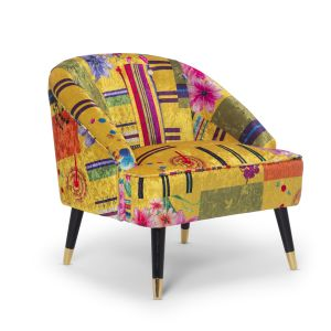 Fabric Gold Patchwork Kensington Slipper Accent Chair