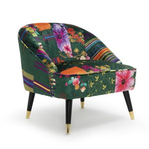 Fabric Green Patchwork Kensington Slipper Accent Chair