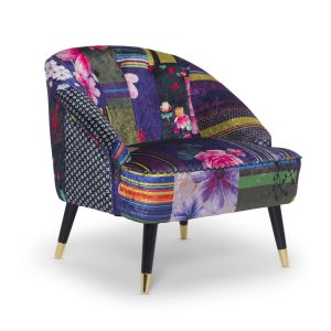 Fabric Patchwork Kensington Slipper Accent Chair