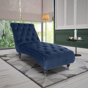 Velvet Marine Blue Layla Chesterfield Chaise Lounge