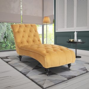 Velvet Gold Layla Chesterfield Chaise Lounge