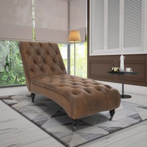 Leather Air Brown Layla Chesterfield Chaise Lounge