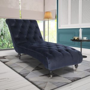 Velvet Navy Blue Layla Chesterfield Chaise Lounge