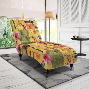 Fabric Gold Patchwork Chesterfield Layla Chaise Lounge