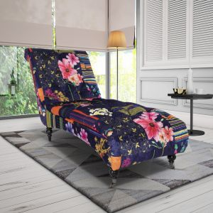 Fabric Navy Patchwork Chesterfield Layla Chaise Lounge