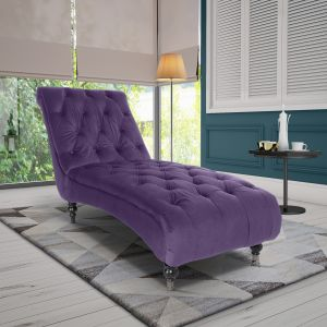 Velvet Purple  Layla Chesterfield Chaise Lounge