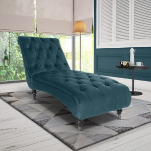 Velvet Teal Layla Chesterfield Chaise Lounge