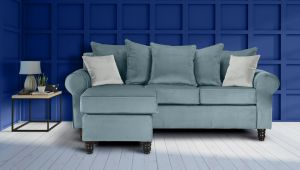 Velvet Light Blue St Moritz Corner Sofa With Reversible Chaise
