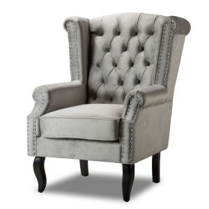Velvet Wing Back Fireside Chair / Armchair with Buttons Light Grey