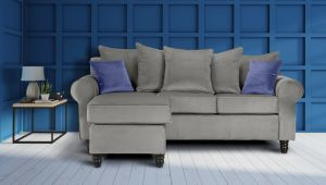 Velvet Light Grey Corner St Moritz Sofa With Reversible Chaise