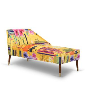 Fabric Gold Patchwork Marilyn Chaise Lounge
