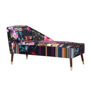 Fabric Black Patchwork Marilyn Chaise Lounge