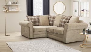 Chenille Fabric Beige 1c2 Charlotte Corner Sofa With Accent Cushions