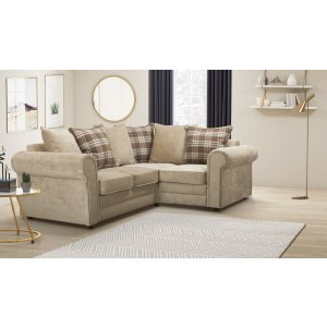Chenille Fabric Beige 2c1 Charlotte Corner Sofa With Accent Cushions