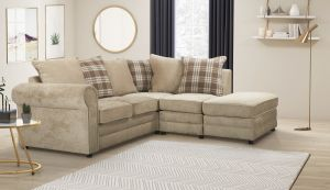 Chenille Fabric Beige 2c1 Charlotte Corner Sofa With Accent Cushions and Ottoman