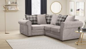 Chenille Fabric Light Grey 1c2 Charlotte Corner Sofa With Accent Cushions