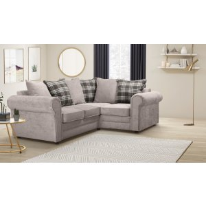 Chenille Fabric Light Grey 2c1 Charlotte Corner Sofa With Accent Cushions