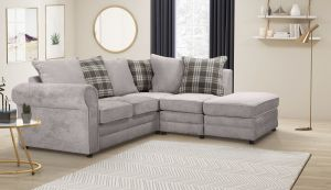 Chenille Fabric Light Grey 2c1 Charlotte Corner Sofa With Accent Cushions and Ottoman