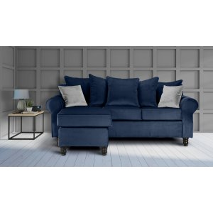 Velvet Navy Blue St Moritz Corner Sofa With Reversible Chaise