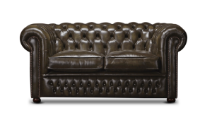 Leather Chesterfield Brown 2 Seater Nilson Sofa