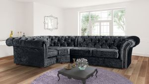 Crushed Velvet Chesterfield Black Corner 1C2 Nelson Sofa