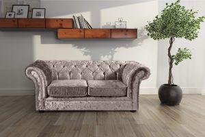 Crushed Velvet Chesterfield Mink 2 Seater Nelson Sofa