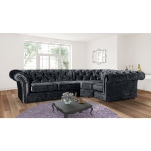 Crushed Velvet Chesterfield Black Corner 2C1 Nelson Sofa
