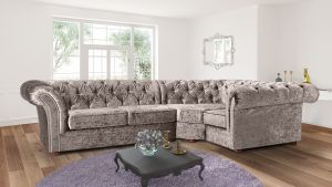 Crushed Velvet Chesterfield Mink Corner 2C1 Nelson Sofa