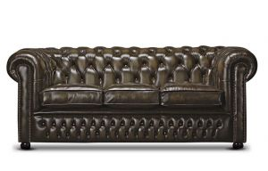 Leather Chesterfield Brown 3 Seater Nilson Sofa