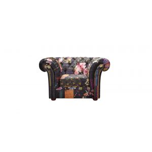Fabric Black Patchwork Chesterfield 1 Seater Nelson Sofa