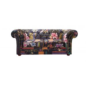 Fabric Black Patchwork Chesterfield 2 Seater Nelson Sofa