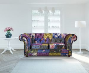 Fabric Patchwork Chesterfield 2 Seater Nelson Sofa