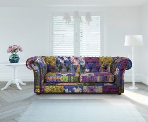 Fabric Patchwork Chesterfield 3 Seater Nelson Sofa