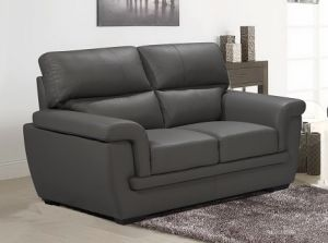 Genuine Leather Mid Grey 2 Seater Anzio Sofa