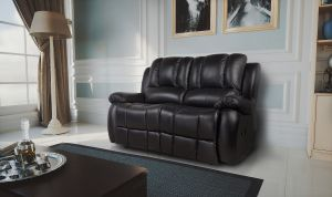 Semi Aniline Leather Black 2 Seater New Yorker Recliner Sofa