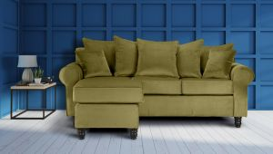 Velvet Olive Green St Moritz Corner Sofa With Reversible Chaise