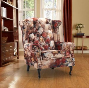 Velvet Orange Floral Chesterfield Wing Back Chair