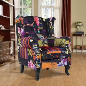 Fabric Black Patchwork Chesterfield Wingback Chair