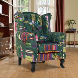Fabric Green Patchwork Chesterfield Wingback Chair