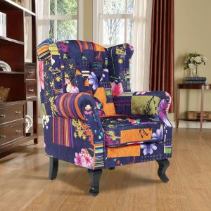Fabric Navy Patchwork Chesterfield Wingback Chair