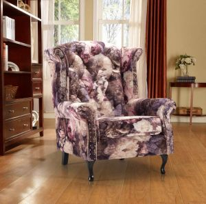 Velvet Blush Floral Chesterfield Wing Back Chair