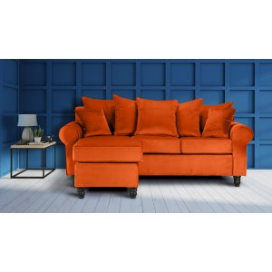 Velvet Pumpkin Orange St Moritz Corner Sofa With Reversible Chaise