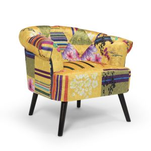 Fabric Gold Patchwork Sara Slipper Accent Chair