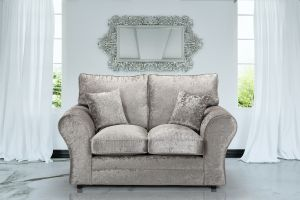 Crushed Velvet Silver 2 Seater Sophie Sofa With High Back