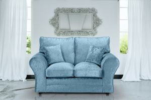 Crushed Velvet Aqua Blue 2 Seater Sophie Sofa With High Back