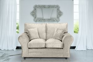 Crushed Velvet Cream 2 Seater Sophie Sofa With High Back