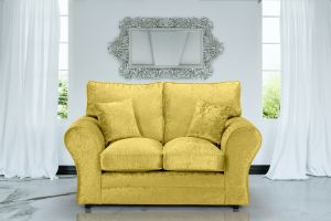Crushed Velvet Gold 2 Seater Sophie Sofa With High Back