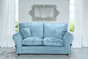 Crushed Velvet Aqua Blue 3 Seater Sophie Sofa With High Back