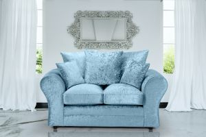 Crushed Velvet Aqua Blue 2 Seater Sophie Sofa